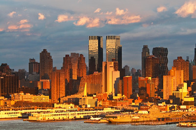 Day 27: New York Skyline Sundown - January 27, 2012. Oh my gosh - after a day of heavy rain, finally went out when the skies began to clear to get a 'grab shot' so that I would have a photo for today.  Within minutes, the most incredible sundown magic occurred.   Two images posted - this one shot at 4:49 and the other just about 11 minutes later.  WOW - the color was just astounding.  This is really how it was.