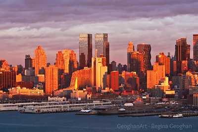 Day 27: New York Skyline Sundown - January 27, 2012.   Post 2 for today.  This was taken just 11 minutes or so after Post 1 of the same subject.  What an incredible sundown sight! The light and shadows changed by the second.