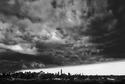 Day 209: New York City Approaching Storm - July 27.  Huge thunderstorm approaches New York City and metropolitan area about 8 o'clock last night.  As dark as late night where the clouds were passing over.  Minutes later, the entire view was obscured by the rain and dark.  Image converted to black and white.