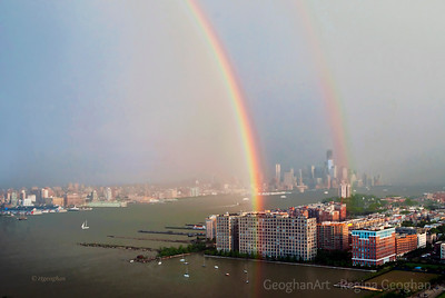 Day159: Rainbow over the Hudson NYC - June 7, 2012. Two images for today. Exciting moments yesterday morning watching the shuttle Enterprise being transported up the river to the Intrepid and then late afternoon as it was hoisted onto the Intrepid deck. Then, shortly after a thunderstorm in the distance leaving a beautiful double rainbow over the river and the city of Hoboken N.J. Thanks for the comments on yesterday's skyline photo. Graham and Ed - no layers - just one frame. One of those times when the lighting was just amazing.