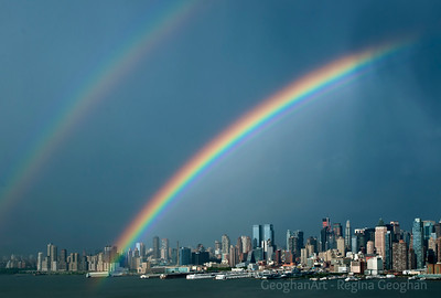 Day156: Rainbow over Manhattan #1 - June 4, 2012. Two photos posted for today.  A gorgeous double rainbow over the New York Skyline yesterday evening.