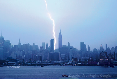 Day 178: NY Skyline - Lightning bolt - June 26, 2012. Severe thunderstorms yesterday morning - storm passed by quickly so only brief chance to get lighting photo.