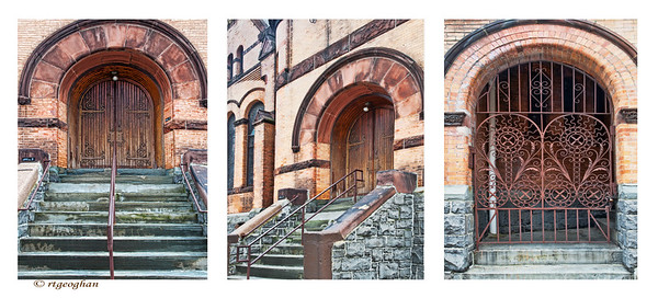 Day 126:  Old Church Tiptych - May 5, 2012.   Passed by this old church in Hoboken N.J. while driving around to find a parking space.  Listed in the National Historic Register as the First Baptist Church of Hoboken, it was built late 1800's in the Romanesque style.  I was drawn to the wonderful variation of colors and tones in the old stone and the grill work.
