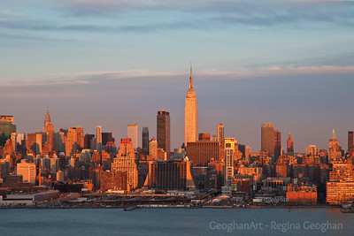 Day 64: NY Skyline at Sundown - March 3, 2012.  This is my second post for today.  In celebration of sunshine appearing late this afternoon - finally.  The reward after several rainy days was a beautiful sundown.