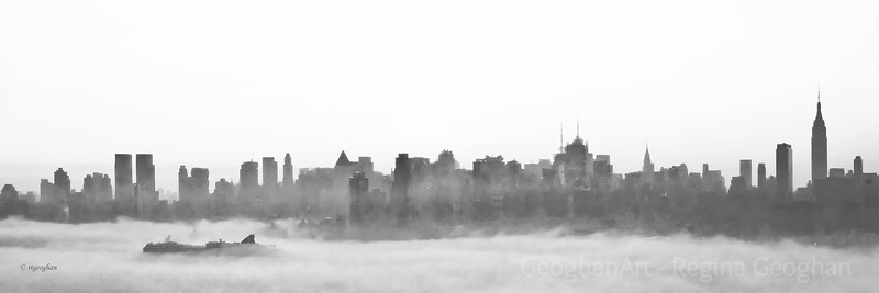 Day 78: NY Morning Fog - March 17, 2012.  Those leprechauns were having a great play time this morning on the Hudson River creating waves of fog.  In the foreground, you can see that the cruise ship is almost completely engulfed in it.  Cropped for pano efect.