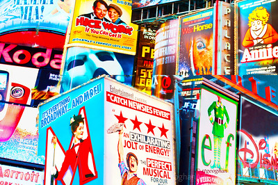 "Day 315: NYC Broadway Collage - Nov 9.  My ""Regards to Broadway"". Thanks to all who have commented on my images in the past few days.  I've been feeling very burned out and unmotivated lately and the feedback helps very much to keep me going with the dailies.  Met up with my daughter and her family in the city last night  to see a play.  Unfortunately, didn't leave myself enough time to take photographs but did grab a few of the ads along the street.  This is a collage of some of those brightly lit signs.  Last night at the play performances, donations were being taken for the Actor's Fund and an announcement was made that the fund would be donating a quarter million dollars to help the victims of Sandy.   I give the actors, stage crews, musicians and all involved in keeping these plays going a lot of credit knowing that many of them have lost power, lost homes and need to spend many extra hours getting transportation to and from the city in order to keep the 'show going on."""