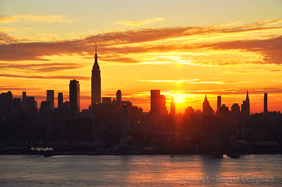 Day 327: NY Skyline at Sunrise- Nov 21.   A beautiful sunrise this morning to start the day before our Thanksgiving Day gatherings.  Safe travels to all those who are on the road today to visit family and friends for the holiday.