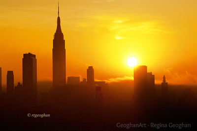 Day 318: NYSkyline at Sunrise - Nov 12.  Lots of haze and fog this morning but a pretty sunrise.