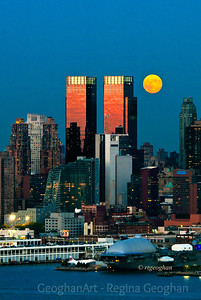 Day 275: NY Skyline Moonrise - Oct 1.  A beautiful, richly colored, harvest moon as it rose over the NY skyline last evening as sundown was ending.