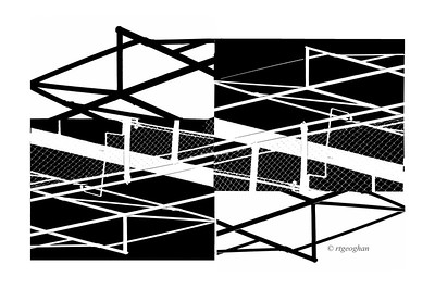 Day 282: Abstract Black and White - Oct 8.  Rainy, rainy day yesterday.  Took a photo of some iron fencing against the white sky and then played with cutting and pasting pieces of the photo.