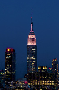 Day 276: NY Skyline Empire State Building - Oct 2.   Empire State Building lit up in pink last night for Breast Cancer Awareness month