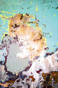 Day 292: Abstract - Oct 18.  No chance for photos today until evening.  This is a 'found' abstract - a photo of part of the wall of a elevator that is scraped down to prepare for repainting.  An overhead, uncovered, yellow bulb enriched the colors of the old scraped paint.