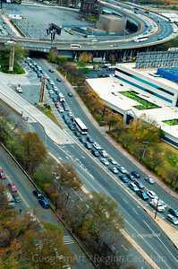 Day 306: Traffic Jams - Oct 31. Day 3 of Hurricane Sandy  A view from above of the traffic jams - cars lined up to get into the LIncoln Tunner.