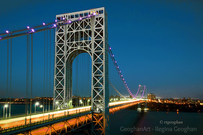 Day 295: George Washington Bridge in Pink - Oct 21.  Photograph of the George Washington Bridge taken last night.  It is lit with pink lights for Breast Cancer Awareness Month.