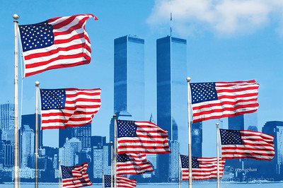 Day 255: Remembering 9/11 - Sept 11.  A composite of American flags and a photo of the twin towers in memory of those who lost their lives and in gratitude to the first responders who risked their lives and all those who serve to protect the freedoms and beliefs of our country