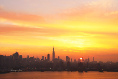 Day 336: NYSkylineSunrise - December 3.   A smoggy, hazy atmosphere created a sunrise with lovely color this morning.