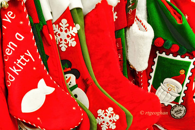 Day 350: Christmas Stockings - December 17.  A colorful display of Christmas stockings for sale.  My car has been in the shop for repair for a while and just got it back yesterday so I finally can get started on my holiday shopping