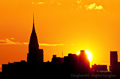 Day 51: New York Skyline Sunrise - Chrysler Building - Feb 20. After a very rainy day yesterday it was nice to see the sun this morning.