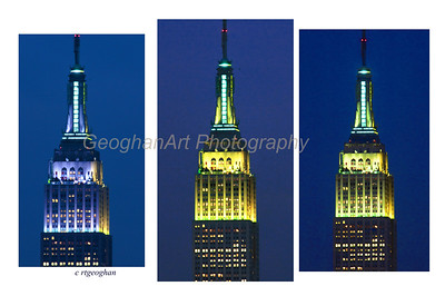 Day 18: Empire State Building Colors - Jan 18, 2013.  As of sundown last night, I had not gotten my daily photo so I decided to work on close up shots of the Empire State Building,  The ESB is currently holding a color voting opportunity on the ESB Facebook page.  Each night for 7 nights, a different color will be highlighted with four different shades of that color shown on the four sides of the tower.  Last night the color to be shown was green.  So I was quite surprised after getting out tripod, putting tele-extender on the camera and setting up to see the first lights shining a lavender blue color on the West side of the building and a yellow color on the South side.  Within 5 minutes, the color turned to bright yellow and then after another 5 minutes or so, the yellow was lighter and some tones of green were starting to show through.  It was cold and I gave up at that point.  Later at night, I checked the Facebook page and it showed a brilliant green on the East side of the tower.  So....the green color vote to me was puzzling.  Now that my curiosity is up, I'll have to check it out tonight when the tower should be lit in four different shades of blue.  Unfortunately, I only get to see one side from my area of NJ.
