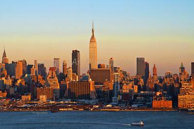 Day 25: NY Skyline Sundown - Jan 25, 2013.  Golden sundown color yesterday - anther very frigid, windy day.