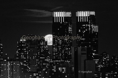 Day 28: NY Skyline Full Moon - Jan 28, 2013.  A gorgeous full moon last night.  This is a close up taken from New Jersey of the moon rising behind the Time Warner Center towers near Central Park South.  Decided to post as a black and white for a change of pace.  SInce it was very dark when the moon came over the horizon, It was hard to find a balance tbetween he colors of the skyline building lights yet keep the accurate yellow of the moon.  Within a few moments, the moon was so much brighter than the buildings that the detail burned out.  But those few moments produced some awesome color.  Thinkng of posting a second photo with color.