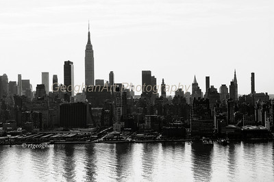 Day 158: NYSkyline-MorningReflections- June 10.  A black and white version of the skyline with early morning reflections in the Hudson River.
