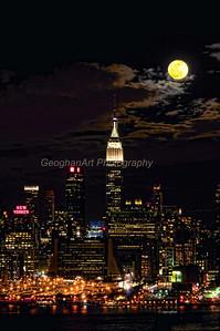Day 88: NY Skyline Moonrise - Mar 29.