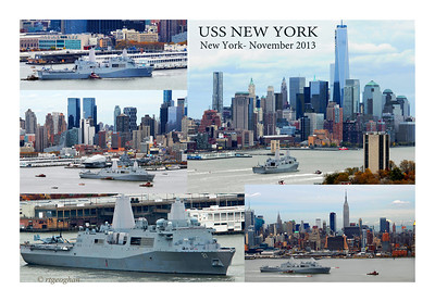 Day 316: USS New York Departs NYC - November 13.  It was a moving sight to watch the USS New York (LPD-21)) sail down the Hudson River as she departed from her visit to NYC for Veteran's Day weekend.  The Navy ship, named New York to commeorate 9/11, was commissed for service in 2009. Her bow contains 7.5 tons of steel salvaged from the fallen twin towers.  Couldn't help but wonder what her crew felt as they passed by the new One World Trade Buildinng.  This colllage counterclockwise:  1) being guided out of her berth, 2) crusing past the Intrepid Museum, 3) a close up shot, 4) passing the Empire State Building and .5) about to pass lower Manhattan and One World Trade as she heads out to New York Harbor and back to sea.