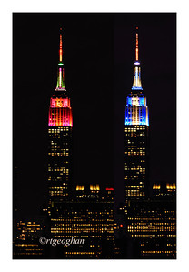 Day 331: Thankful - November 28.   This is the first year since the 1880s that Thanksgiving and Hanukkah holidays have overlapped.  Last night on Thanksgiving Eve and the first night of Hanukkah, the Empire State Building was lit alternately with with lights to celebrate both.  Today I am most thankful for my family and friends and for a day that is set aside to be together with loved ones who live close enough to be together for a wonderful dinner and day of thanks.   HAPPY  THANKSGIVING AND HAPPY HANUKKAH.
