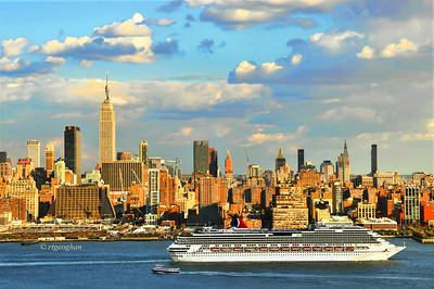Day 298: NY Skyline-Cruise Ship - October 25.  Cruise ship Carnival Splendor departing New York City at the start of sundown yesterday.  I've never been on a cruise but it is tempting.
