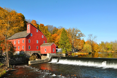 Day 303: Red Mill Museum.- October 30.   The Red Mill Museum in Clinton N.J. framed by autumn foliage.