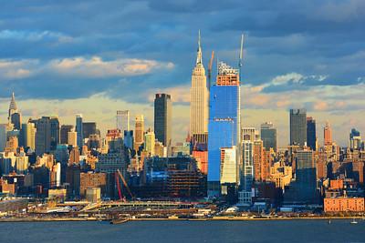Manhattan Skyline Sundown  Blue and Gold