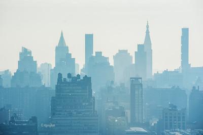 Day 018: NY Skyline-Misty Morning- Jan 18.  Blue mist covered the New York Skyline on this morning.