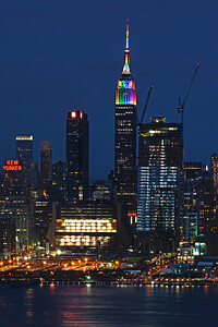 Day 179: NYC Rainbow colors for PRIDE - June 29.  A big celebration day in the city yesterday for PRIDE with a parade and other events.  The Empire State Building was lit in rainbow colors in recognition.