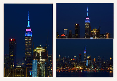 Day 129: NY Skyline-Police Memorial Day - May 9.  Last night the Empire State Building was lit in Blue and Purple to designate Police Memorial Day.