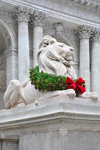 Lion at Christmas NYC