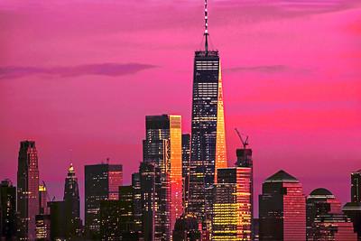 Freedom Tower Rose Colored Sundown