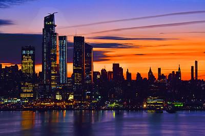 Manhattan Dawn in Blue and Bronze