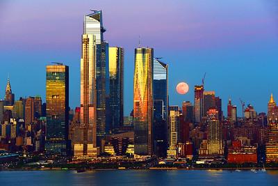 NY Skyline and Full FLower Moon