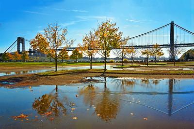 George Washington Bridge and Rain Puddle Reflections