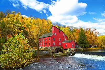 Picturesque Red Mill Autumn Landscape