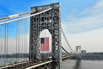 Beorge Washing Bridge Veteran's Day Flag