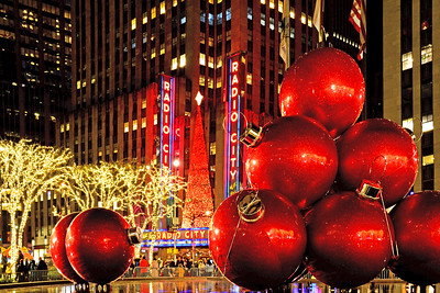 NYC Holiday Red Ball Decorations