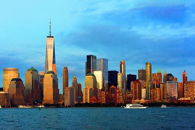 Lower Manhattan Skyline Golden Hour