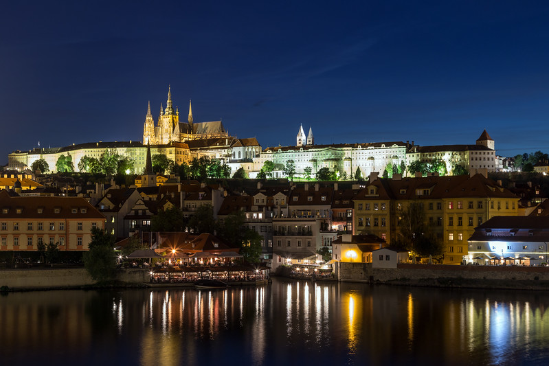 Prague Castle and other buildings in Prague at dusk