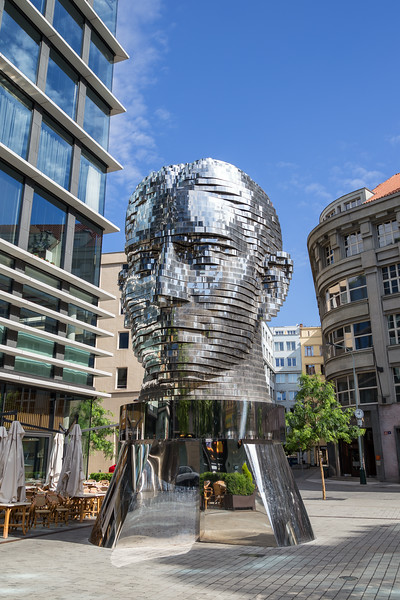 Head of Franz Kafka sculpture in Prague