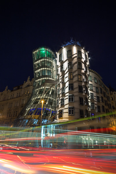 Dancing House building in Prague at night