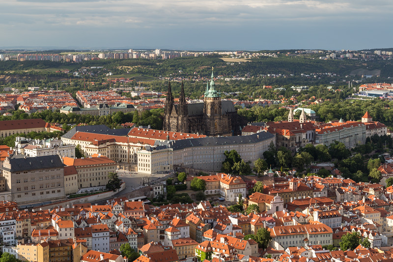 Aerial view of Mala Strana District in Prague