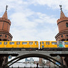 U-Bahn train and Oberbaum Bridge in Berlin