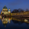 Berliner Dom and Spree River in Berlin at dusk